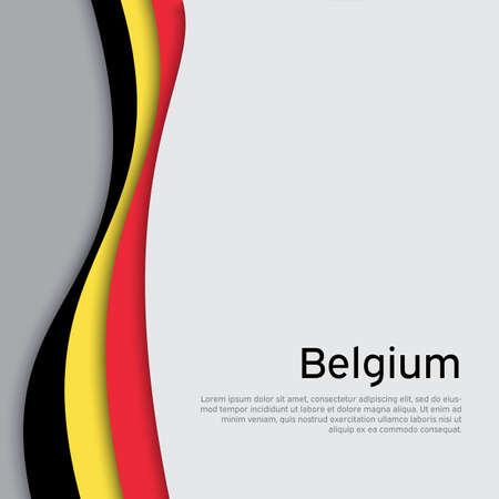 Abstract waving belgium flag. Creative background in belgium flag colors for holiday card design. National Poster. State Belgian patriotic binding, business booklet, flyer. Paper cut. Vector design 免版税图像 - 151144603