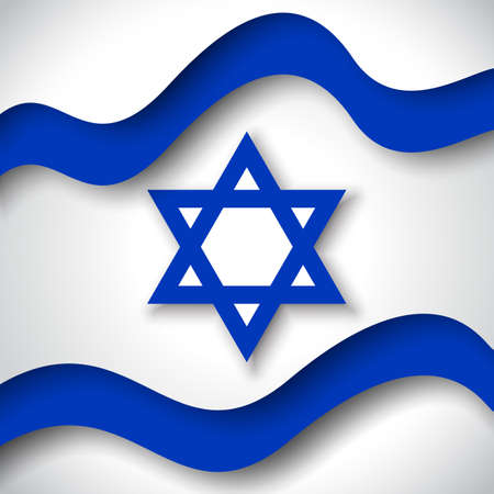Israel flag background. Business booklet. Colored wavy ribbons colors flag of Israel. National Poster. State Israeli patriotic flyer, banner. Paper cut style. Vector design