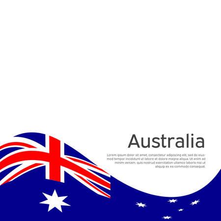 Australia flag on a white background. National poster design. Business booklet. State australian patriotic banner, flyer. Flat style. Background with australia flag. Vector illustration