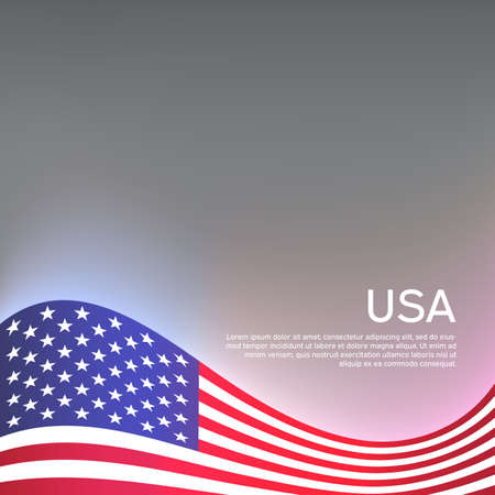 Creative background for american patriotic holiday design with wavy usa flag. US National Poster. Business booklet, cover, banner in usa colors. Vector design