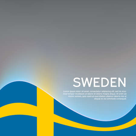 Sweden wavy flag on a glossy gray background. National poster design. Creative business booklet. State swedish patriotic banner, flyer. Vector illustration