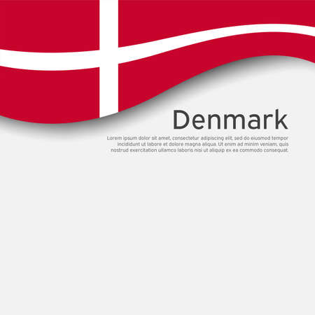 Flag of Denmark on a wavy white background. National poster design. State Danish patriotic banner, flyer. Business booklet. Paper cut style. Vector illustration