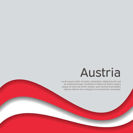 Abstract waving flag of austria. Austrian business booklet, flyer. Paper cut style. Creative background for the design of the patriotic holiday card of Austria. National Poster. Vector design 일러스트