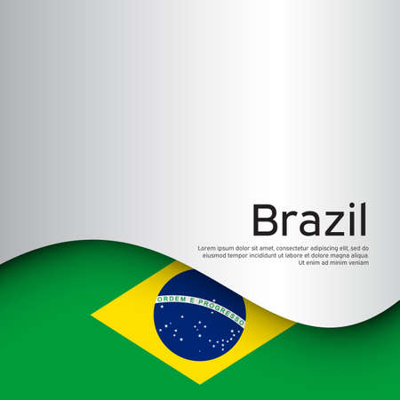 Creative wavy background with brazil flag for holiday card design. Paper cut style. Brazil national poster, banner. State brazilian patriotic binding, business booklet. Vector design