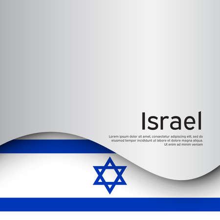 Israel wavy flag on a white background. National poster. State israeli patriotic flyer, banner. Israel flag background. Business booklet. Paper cut style.