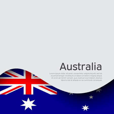 Australia flag on a white background. National poster design. Business booklet. State australian patriotic banner, flyer. Background with australia flag. Paper cut style.