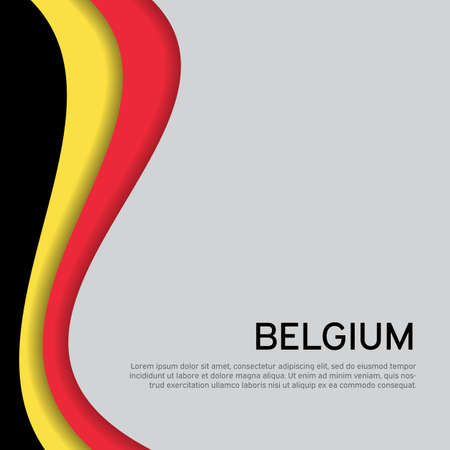 Abstract waving belgium flag. Creative background in belgium flag colors for holiday card design. State Belgian patriotic binding, business booklet, flyer. National Poster. Paper cut.