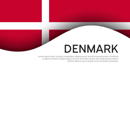 Flag of Denmark on a wavy white background. National poster design. State Danish patriotic banner, flyer. Business booklet. Paper cut style.