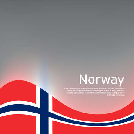 Norway flag on a glossy gray wavy background. National poster design of norway. Business booklet. State Norwegian patriotic banner, flyer.