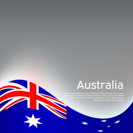 Australia wavy glowing flag on a gray glossy background. National poster design. Business booklet. State australian patriotic banner, flyer. Background with australia flag.