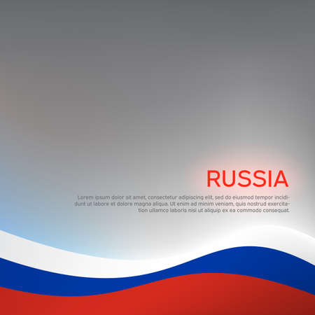 Abstract waving tricolor flag of Russia. Creative background for design of patriotic holiday card. National poster. State russian patriotic cover, flyer. 일러스트