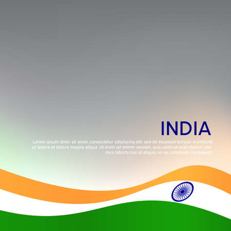 Abstract waving flag of india. Creative background for patriotic holiday card design. National Poster. State Indian patriotic cover, flyer. 일러스트