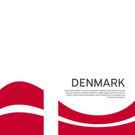 Flag of Denmark on a wavy white background. National poster design. State Danish patriotic banner, flyer. Flat style. Business booklet. Vector illustration