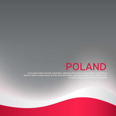 Cover, banner in national colors of Poland. Abstract waving poland flag. Patriotic cover, business booklet, flyer. National polish poster. Vector design