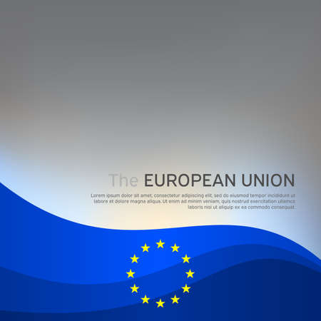 Cover, banner in the colors of the European Union. Background - wavy glowing flag of the european union. Cover design, business booklet, flyer, poster. Vector illustration