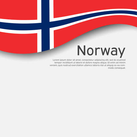 Norway flag on a white wavy background. National poster design of norway. State Norwegian patriotic banner, flyer. Paper cut style. Business booklet. Vector illustration