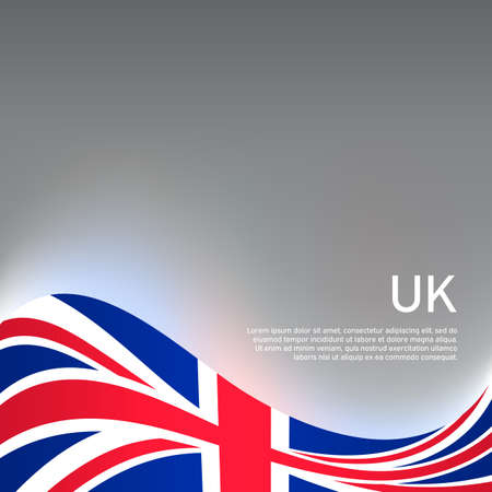 Great Britain wavy glowing flag on a gray glossy background. National poster of the united kingdom. Great britain state patriotic cover, banner. UK flag pattern. Vector