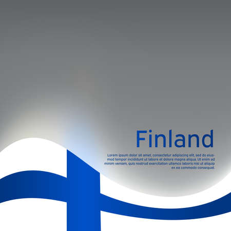 Finland wavy glowing flag on a gray glossy background. National poster design. State Finnish patriotic banner, flyer. Business booklet. Vector illustration 일러스트