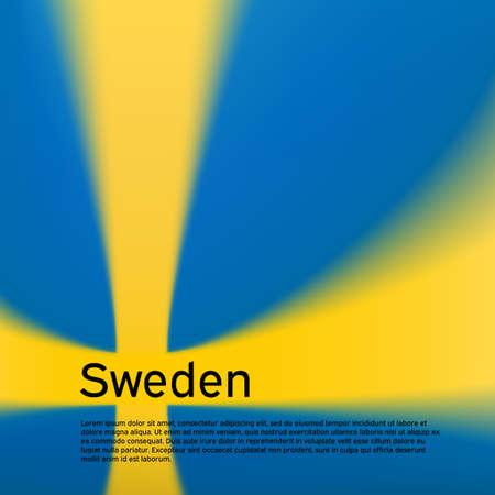 Sweden flag background. Blurred pattern in the colors of the swedish flag. National poster, banner of sweden. State patriotic flyer, cover, business booklet. Vector design