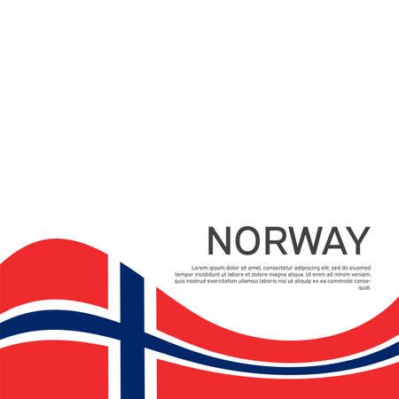 Norway flag on a white wavy background. National poster design of norway. Business booklet. State Norwegian patriotic banner, flyer. Vector illustration