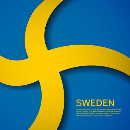 Background with flag of sweden. State swedish patriotic banner, flyer. National poster design of sweden. Business booklet. Wave pattern. Paper cut style. Vector illustration 일러스트
