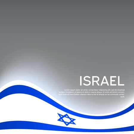 Israel wavy glowing flag on a gray glossy background. State israeli patriotic flyer, banner. Business booklet. National poster. Vector design Illusztráció
