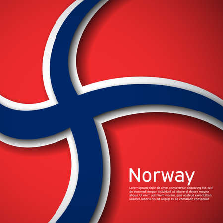 Background with flag of norway. State Norwegian patriotic banner, flyer. National poster design of norway. Business booklet. Paper cut style. Vector illustration 일러스트