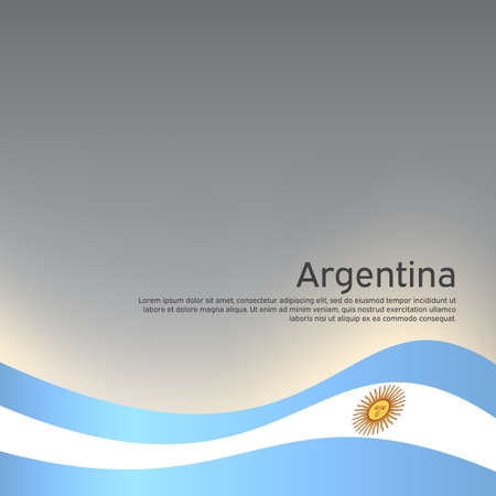 Abstract waving flag of argentina. Creative background for Argentina patriotic holiday card design. National Poster. Argentinean state patriotic cover, flyer. Vector design