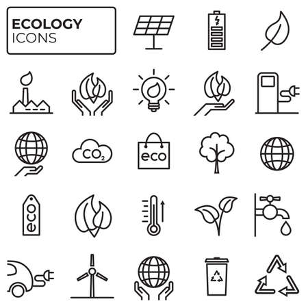 Ecology icons set. Environment protection. Alternative renewable energy. Global warming. Decarbonation. Eco friendly linear sign collection. Vector symbols, icon