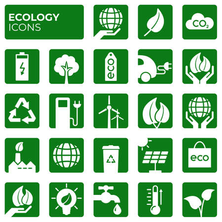 Ecology icons set. Environment protection. Alternative renewable energy. Global warming. Decarbonation. Eco friendly block flat sign collection. Vector symbols, icon