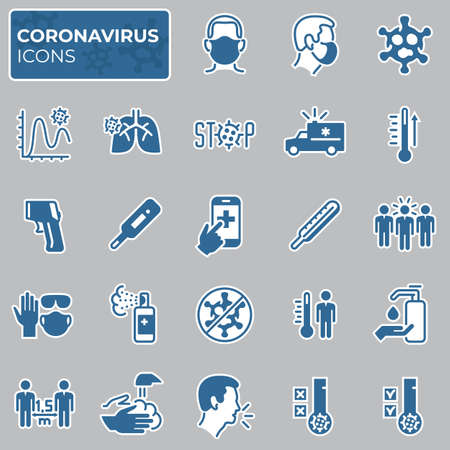 Filled coronavirus icons set. COVID-19 prevention and protection block linear sign collection. Second wave of coronavirus epidemics. Vector symbols, icons mask, social distance, stop virus Ilustração
