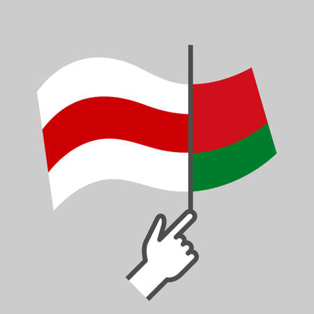Flag old to new. Protests in Belarus.