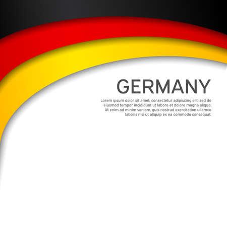 Abstract waving germany flag. Paper cut style. Creative background for design of patriotic holiday card. National poster. State German patriotic cover, flyer. Vector tricolor design Foto de archivo - 155038178
