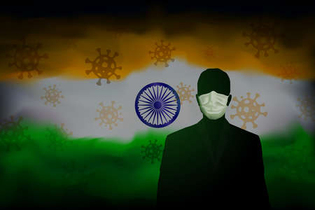 COVID-19 coronavirus epidemic in india. Silhouette man in medical mask on a background abstract indian flag. Global COVID-19 coronavirus pandemic, pneumonia. Banner design concept. Vector Foto de archivo - 155038194