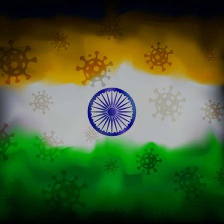 COVID-19 coronavirus epidemic in india. Virus icons on abstract indian flag background. COVID-19 coronavirus pandemic, pneumonia. Banner design concept. Vector