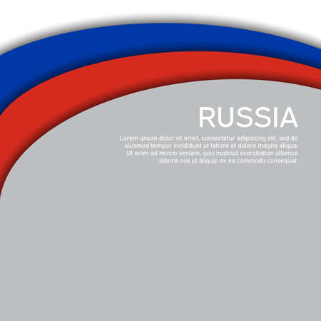 Abstract waving flag of russia. Paper cut style. Creative background for design of patriotic holiday card. National poster. State russian patriotic cover, flyer. Vector tricolor design Foto de archivo - 155038201