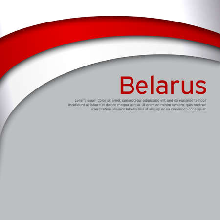 Abstract waving new flag of belarus. Protest actions. Creative background for design of the patriotic banner of Belarus. National Belarusian state business booklet, poster. Paper cut style. Vector Foto de archivo - 155038202