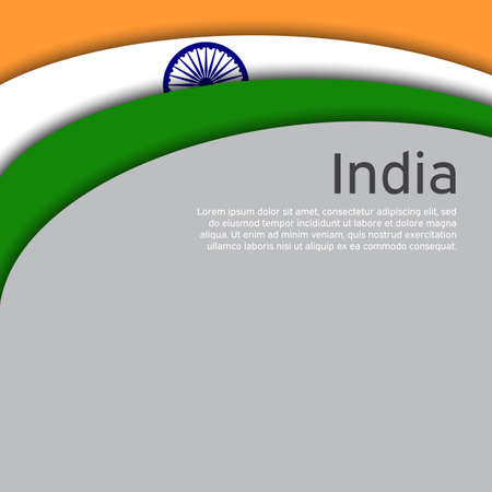Abstract waving flag of india. Paper cut style. Creative background for patriotic holiday card design. National Poster. State Indian patriotic cover, flyer. Vector tricolor design Foto de archivo - 155038203