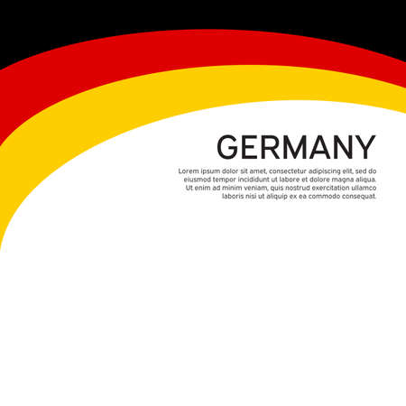 Abstract waving germany flag. Creative background for design of patriotic holiday card. National poster. State German patriotic cover, flyer. Vector tricolor design Foto de archivo - 155038204