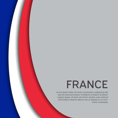 Abstract waving france flag. Paper cut style. Creative background for patriotic, festive card design. National Poster. State French patriotic cover, booklet, flyer. Vector tricolor design Foto de archivo - 155038205