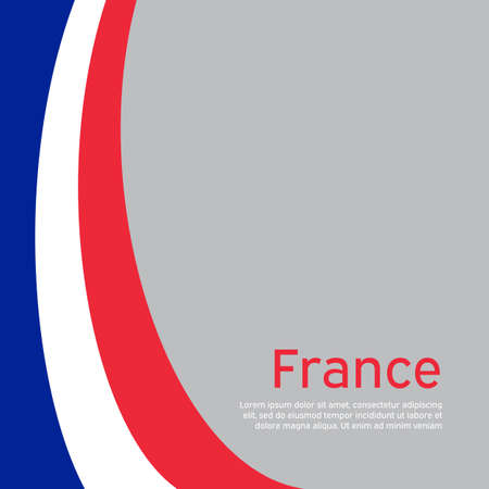 Abstract waving france flag. Creative background for patriotic, festive card design. National Poster. State French patriotic cover, booklet, flyer. Vector tricolor design Foto de archivo - 155038216