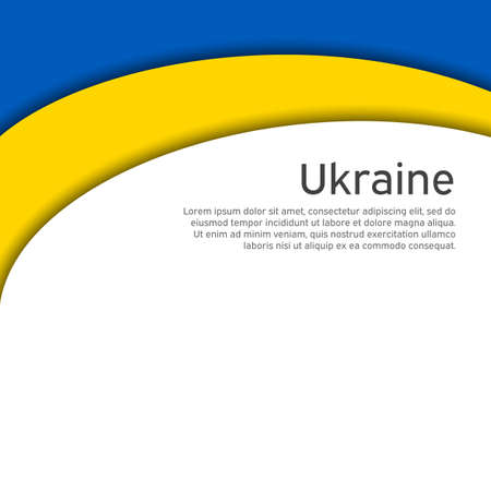 Cover, banner in state colors of Ukraine. Abstract waving flag of ukraine. Paper cut style. Creative background for patriotic holiday card design. National Poster. Vector design Foto de archivo - 155038217