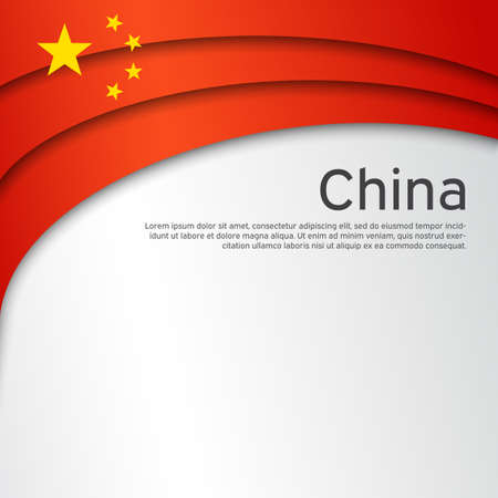 Abstract waving china flag. Paper cut style. Creative background for patriotic holiday card design. National Poster. Cover, banner in the national colors of China. Vector illustration Foto de archivo - 155038218