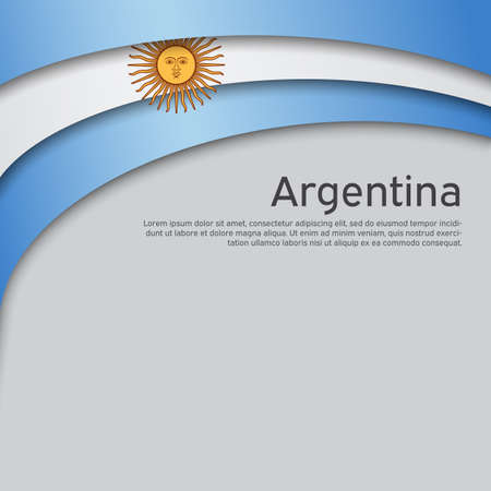 Abstract waving flag of argentina. Paper cut style. Creative background for Argentina patriotic holiday card design. National Poster. Argentinean state patriotic cover, flyer. Vector design Foto de archivo - 155038230