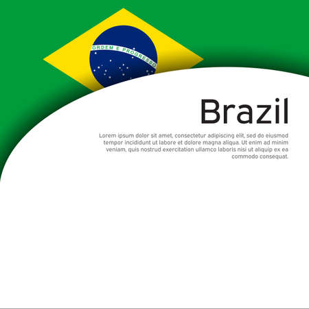 Creative wavy background with brazil flag for holiday card design. Brazil national poster, banner. State brazilian patriotic binding, business booklet. Paper cut style. Vector design Foto de archivo - 155038243