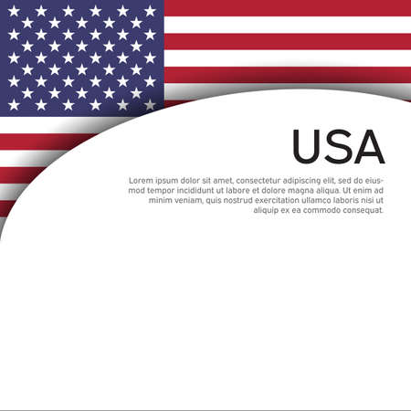 Abstract waving usa flag. Creative background for american patriotic holiday design. Business booklet, cover, banner in US colors. National usa poster. Paper cut style. Vector design