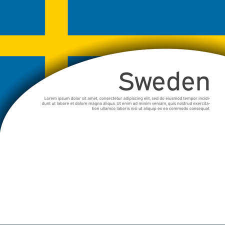 Background with flag of sweden. Sweden flag on a white background. State swedish patriotic banner, flyer. National poster design. Business booklet. Wave pattern. Vector illustration Foto de archivo - 155038246