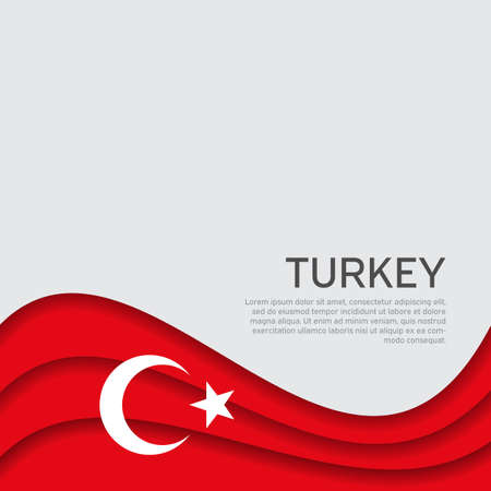Abstract waving turkey flag. Paper cut style. Creative background for the design of patriotic Turkish holiday cards. National poster. Cover, banner in national colors of turkey. Vector illustration Foto de archivo - 155038248