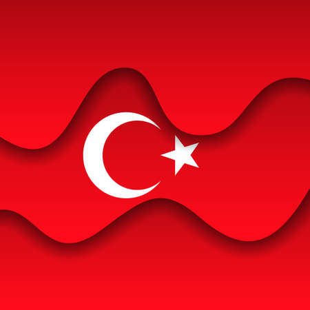 Abstract waving turkey flag. Paper cut style. Creative background for the design of patriotic holiday cards. Graphic abstract background for poster. Vector illustration - turkish flag. Banner