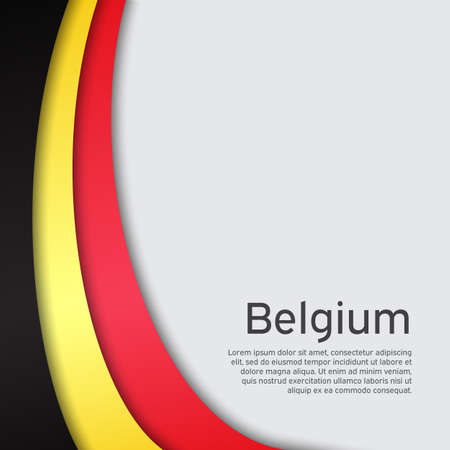 Abstract waving belgium flag. Creative background for belgium holidays postcard design. Business booklet. Paper cut style. Graphic background for poster. Vector illustration of the belgian flag. banner Foto de archivo - 155038251